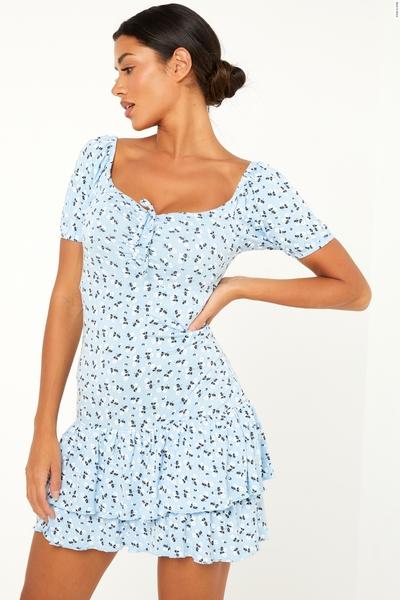 Light Blue Floral Puff Sleeve Dress